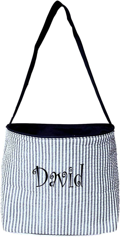 Amazon Com Seersucker Medium Fabric Easter Basket Bucket Tote