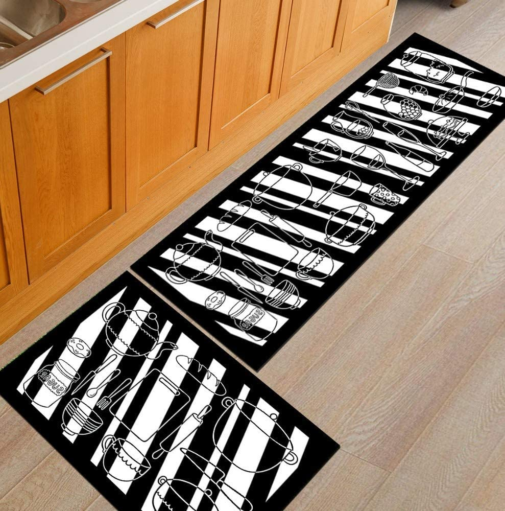 Kitchen Mat Set Black And White Utensils 2pcs Matte 7mm Thick 60 90 60 180cm Kitchen Slip Mats And Carpets Mats Rubber Bearing Pads Durable Floor Mat Machine Washable