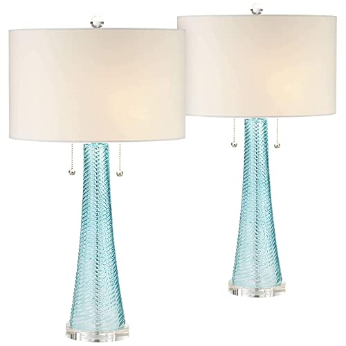 Miriam Modern Table Lamps Set of 2 Light Sky Blue Fluted Glass with Swirl Pattern White Drum Shade for Living Room Bedroom Bedside Nightstand Office Family – Possini Euro Design