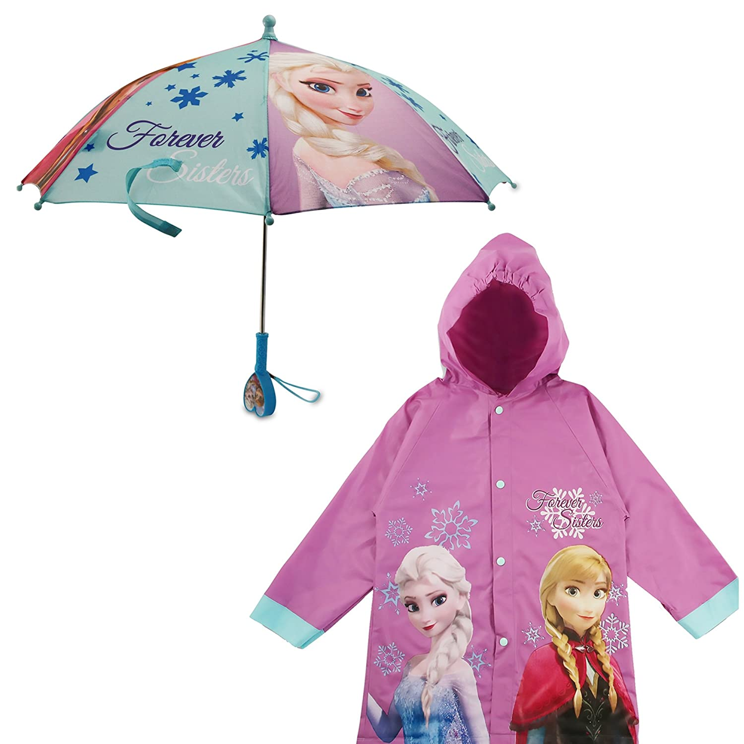 Disney Little Girls Frozen or Minnie Mouse Slicker and Umbrella Rainwear Set MNR70395EC1
