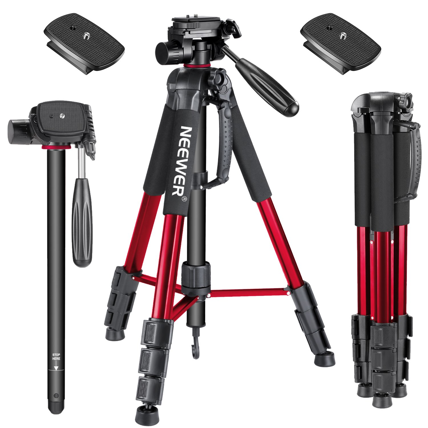 Neewer 70inches/177centimeters Aluminium Camera Tripod Monopod with 3-Way Swivel Pan Head,2-Pack Quick Shoe Plate,Bag for DSLR Camera,DV Video Camcorder,Load up to 8.8 pounds/4 kilograms Red(SAB264) by Neewer