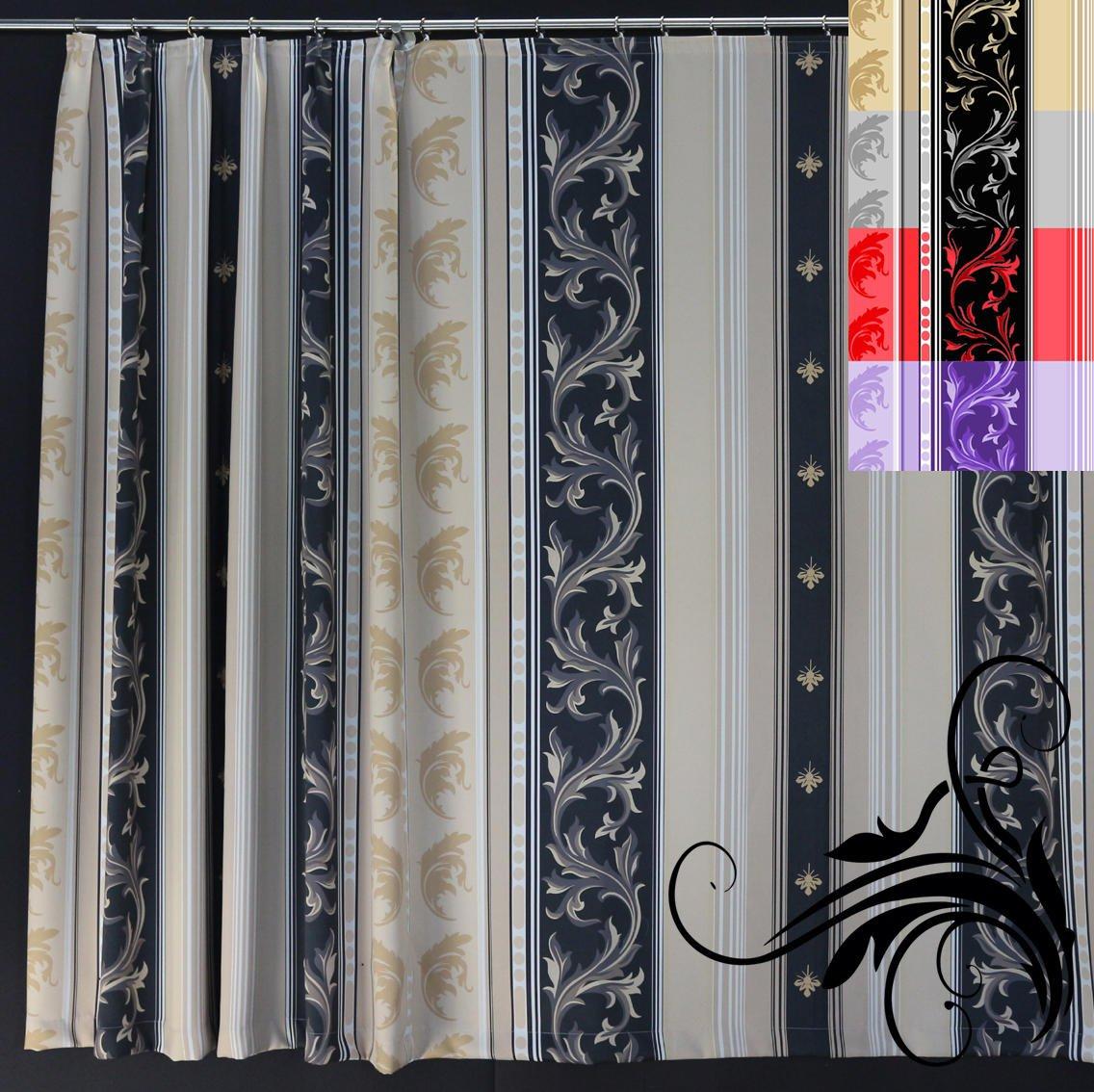 EASYHomefashion Vorhang Verdunkelungsvorhang Verdunkelungs Vorhänge Dekoschal Gardine Blickdicht schwarzout »Roma« (Größe wählbar), Farbe Gold-Schwarz, 250 x 290 cm (HöhexBreite)