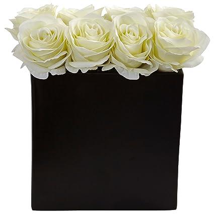 Amazon Nearly Natural Roses Silk Arrangement In 9 H Black Vase