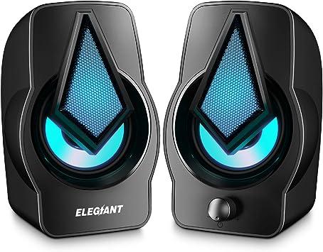 ELEGIANT Altavoces PC, Altavoz 2.0 USB 10W Gaming de Ordenador ...