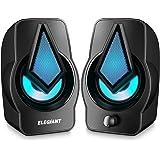 ELEGIANT Altavoces PC, Altavoz 2.0 USB 10W Gaming de Ordenador Sobremesa para Sistema de Estéreo con LED para Escritorio…