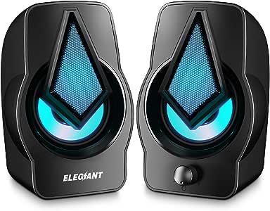 ELEGIANT Altavoces PC, Altavoz 2.0 USB 10W Gaming de Ordenador Sobremesa para Sistema de Estéreo con LED para Escritorio Móvil, Perfecto como Regalo para Casa Viaje Oficina Fiesta Ordenador Portátil: Amazon.es: Electrónica