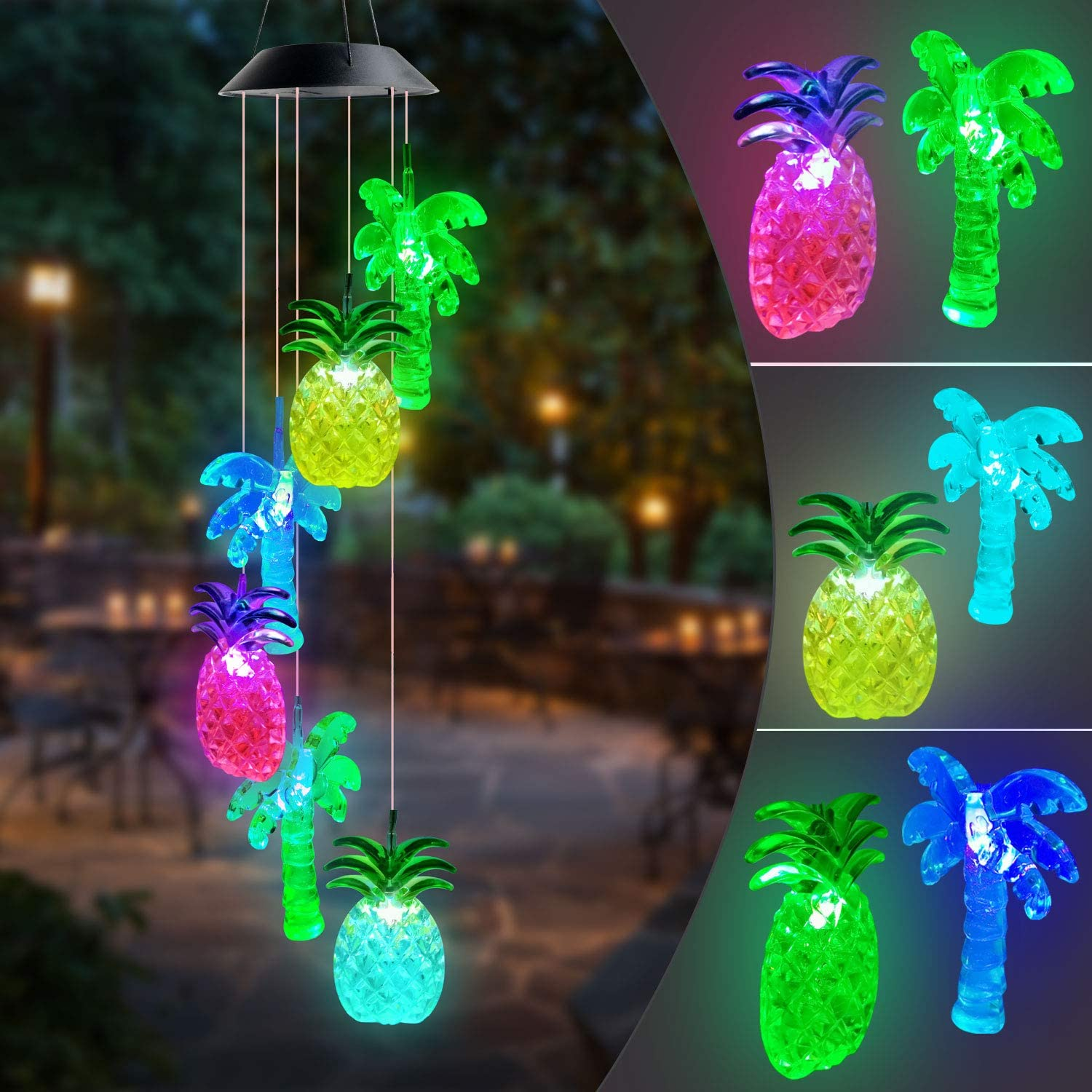 JOBOSI Pineapple Coconut Tree Wind Chimes Solar Wind Chime Garden Decor Summer sea Wind Chime Interesting Gifts for mom Family Friends
