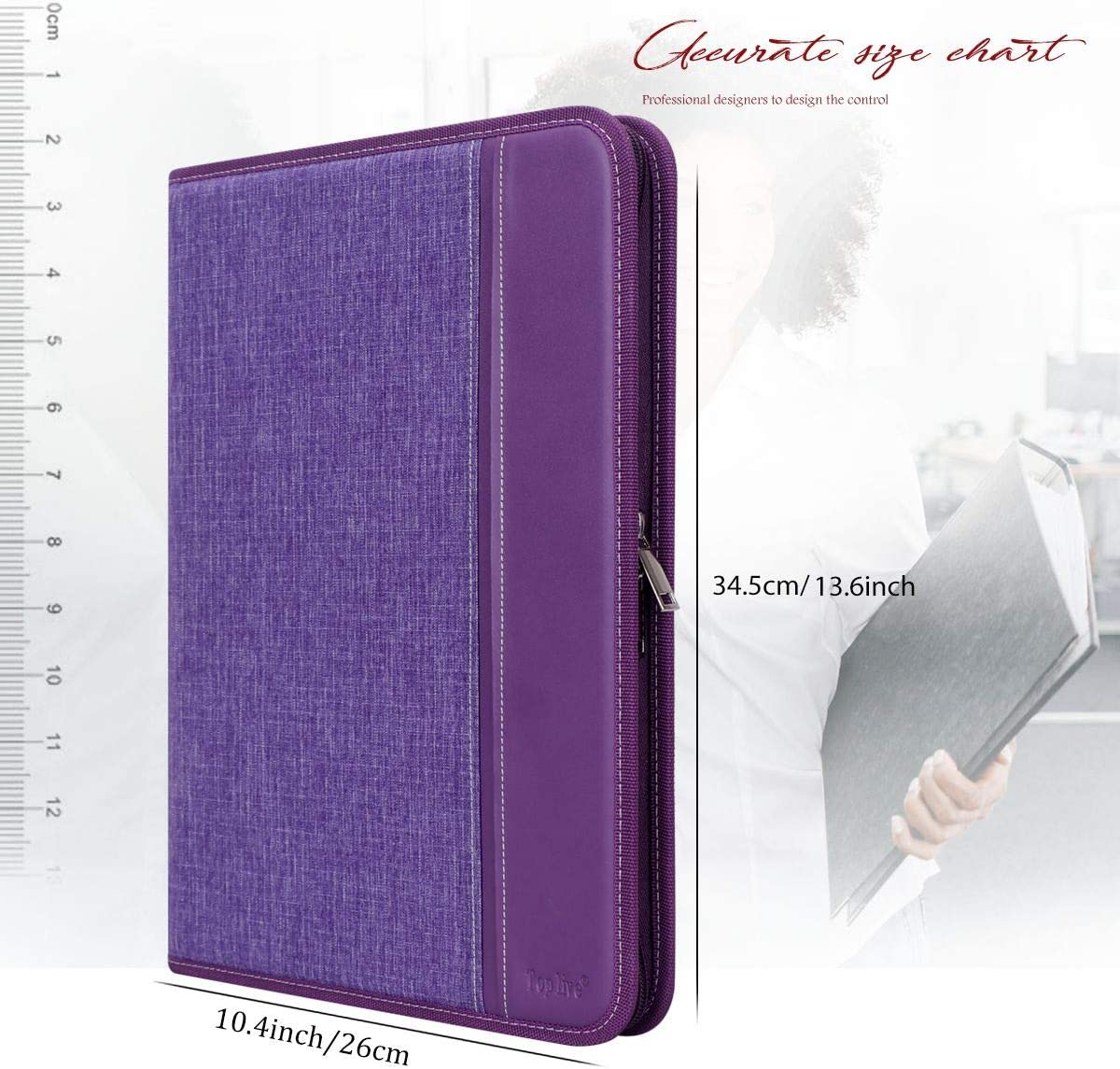 Business Card Holder,Purple Toplive Zippered Padfolio Portfolio Case,Executive Business Conference Folder Document Organizer with Letter//A4 Size Clipboard