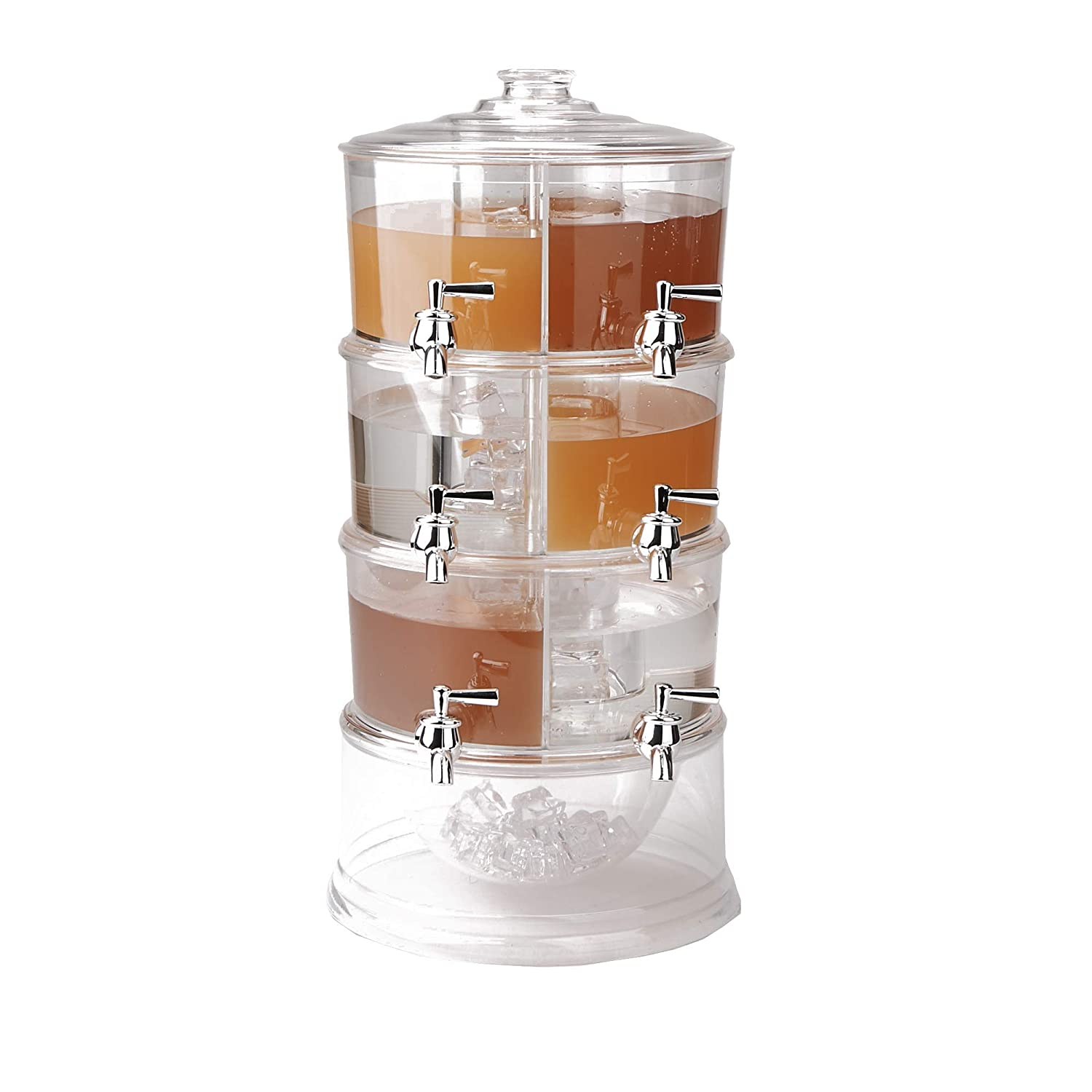 Mind Reader BEVD6C-CLR Dispenser, 3 Tier Stackable Drink Holder with Lids, Clear Acrylic 6 Compartment Beverage Display with Spigots, One Size