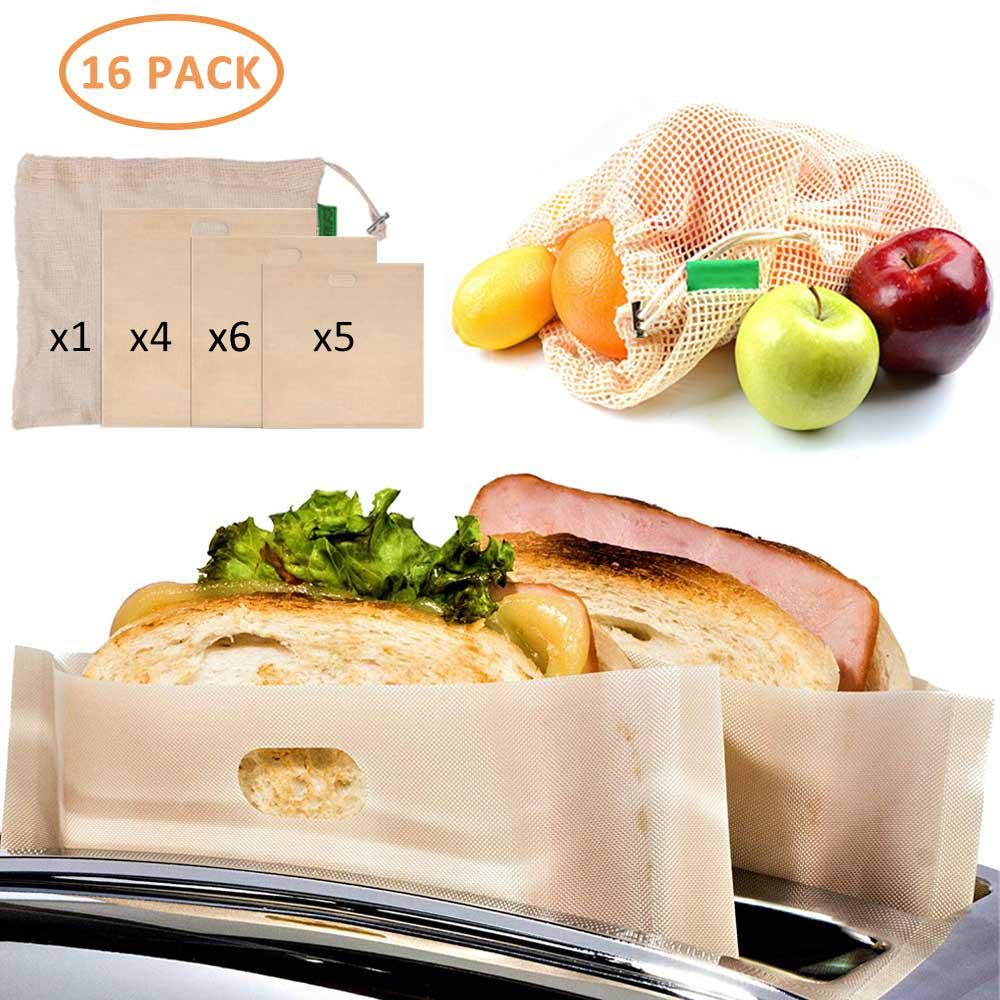 MOGOI 16pcs Toaster Bags with a Fruit Bag, Reusable Grilled Toaster Bags, Non Stick Heat Resistant, 3-Size, Perfect for Sandwiches Pastries Pizza Slices Chicken Nuggets
