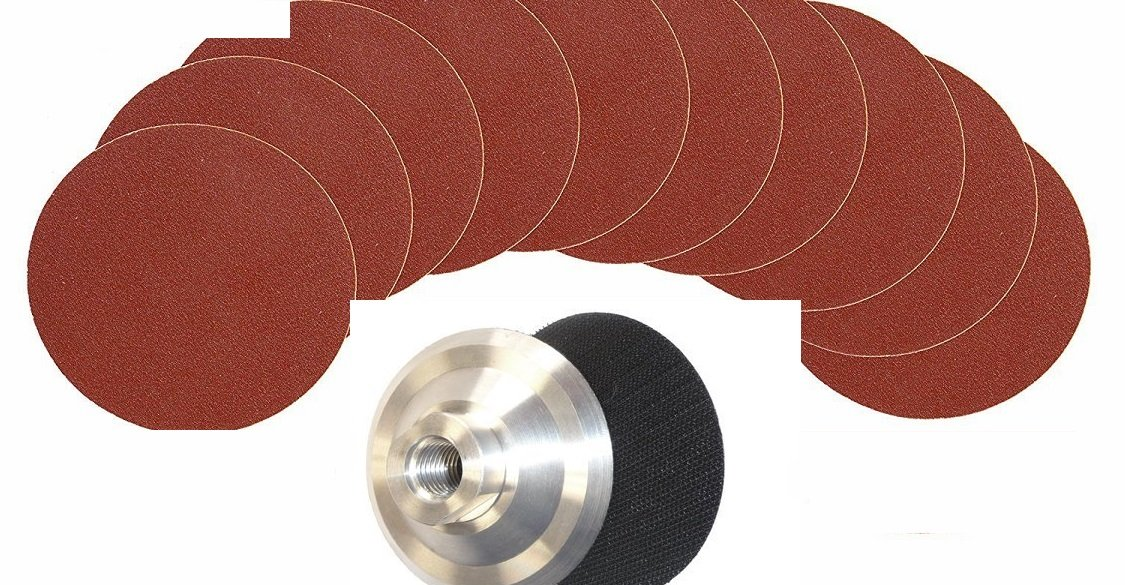 5'' Aluminum Oxide Sanding Disc (80 Pieces) and 5'' Aluminum Backer / Disc Holder. for wood metal brass plywood bamboo leather plastic sanding iron paint remover rust removal
