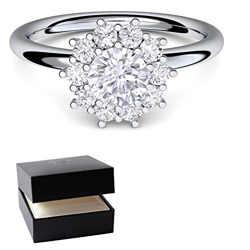 Anillo de compromiso oro blanco anillo diamante 750 + Incluye Luxus Funda + anillo de diamante