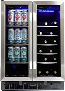 Silhouette SBC051D1BSS Built In Beverage Center, Dual Zone French Door Under Counter Beverage Cooler For Wine, Beer - In Stainless Steel For Kitchen, Home Bar