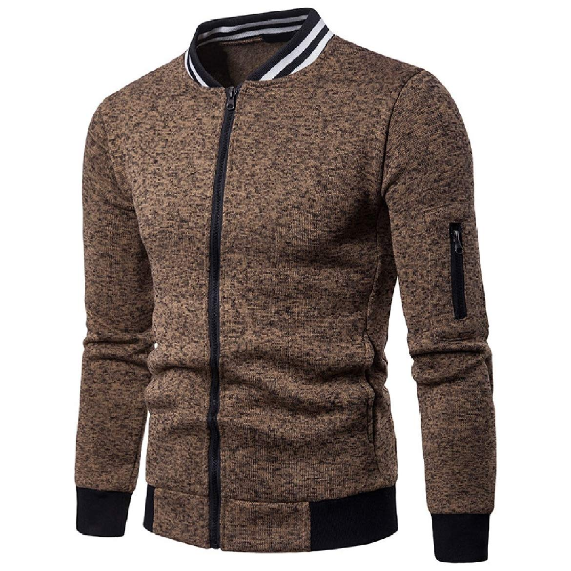 Sayah Mens Stripes Fall Winter Stand Collar Contrast Color Jackets Full-Zip Outwear