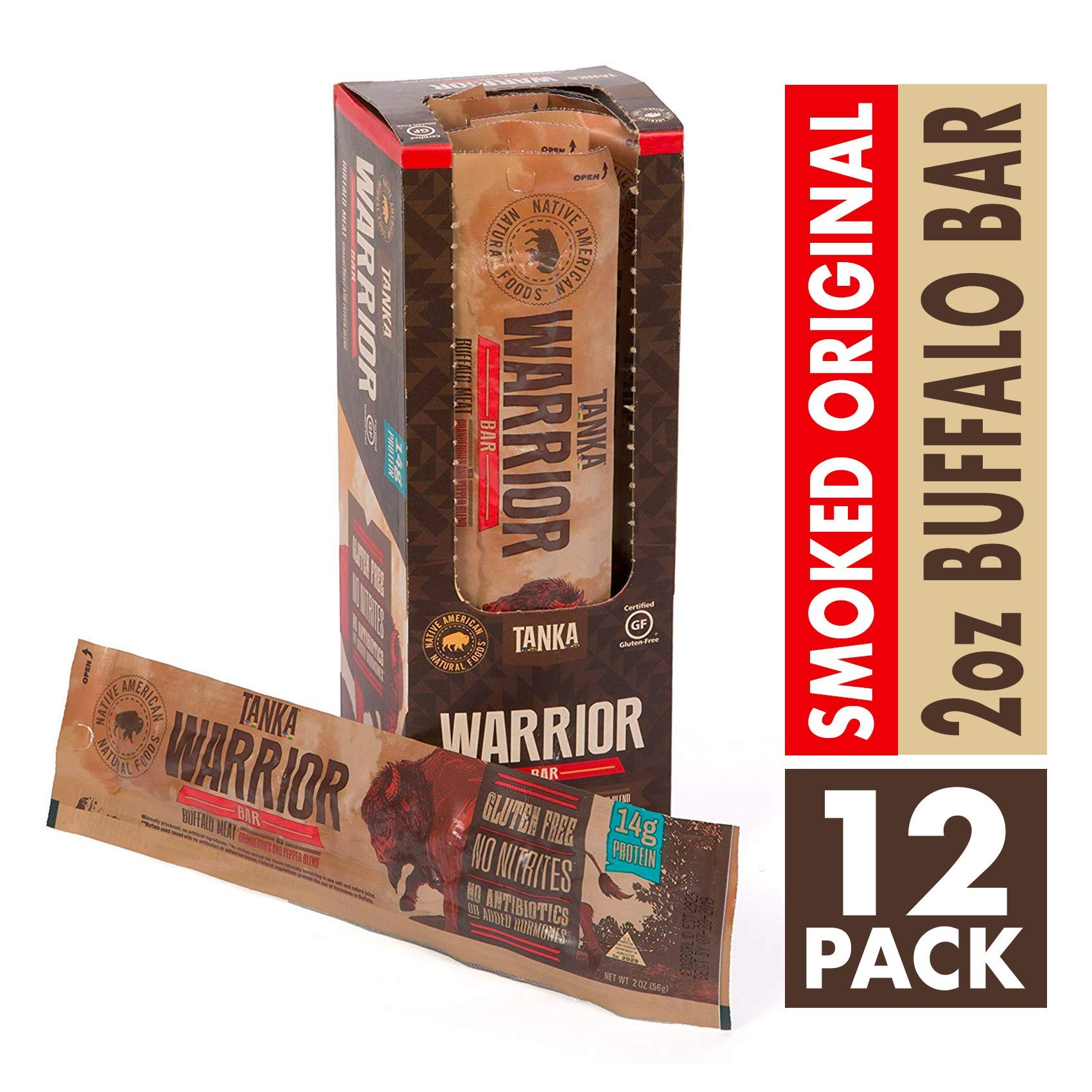 Bison Pemmican Meat Bar with Buffalo and Cranberries by Tanka, Gluten Free, Beef Jerky Alternative, Slow Smoked Original, 2 Ounce Bar, Pack of 12