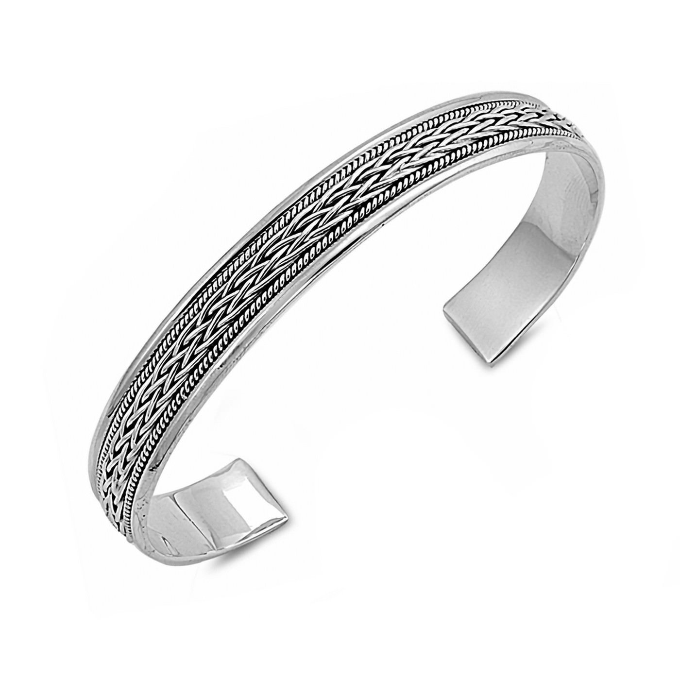 Rope Twist Inlay Pattern Solid Sterling Silver Adjustable Bracelet Cuff Bangle