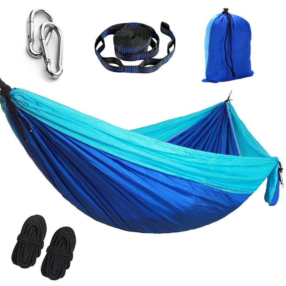 YFH SINGLE Parachute Camping Hammock,Lightweight Portable Hammock,(Hammock tree belt 10 feet / 18 + laps),Suitable for Open air Gardens,Beaches,Backpacks,Camping,Hiking,Jungle,(Blue/Sky Blue, 270X140)