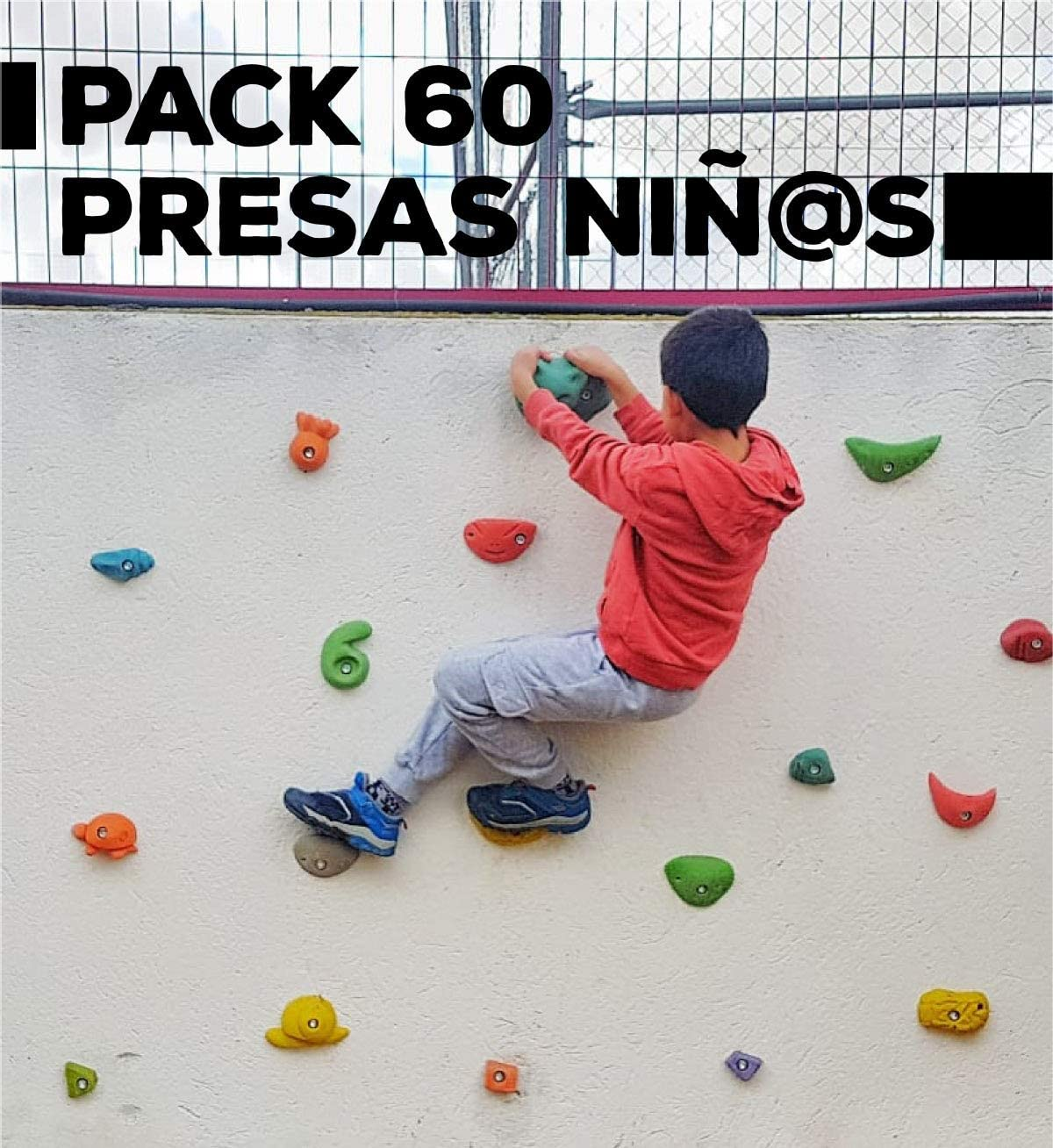 Pack de 63 presas de Escalada para niños. Tornilleria ...