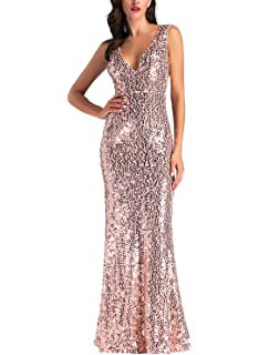 ihot Womens Rose Gold Sequin Bridesmaid Dress Sleeveless Long Evening Prom Dresses
