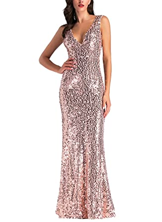 c998a2d8d0c IHOT Women s Rose Gold Sequin Bridesmaid Dress Sleeveless Long Evening Prom  Dresses (S