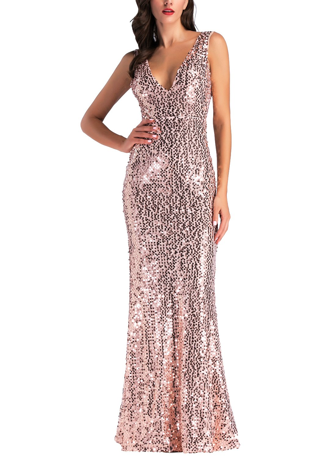 IHOT Women's Rose Gold Sequin Bridesmaid