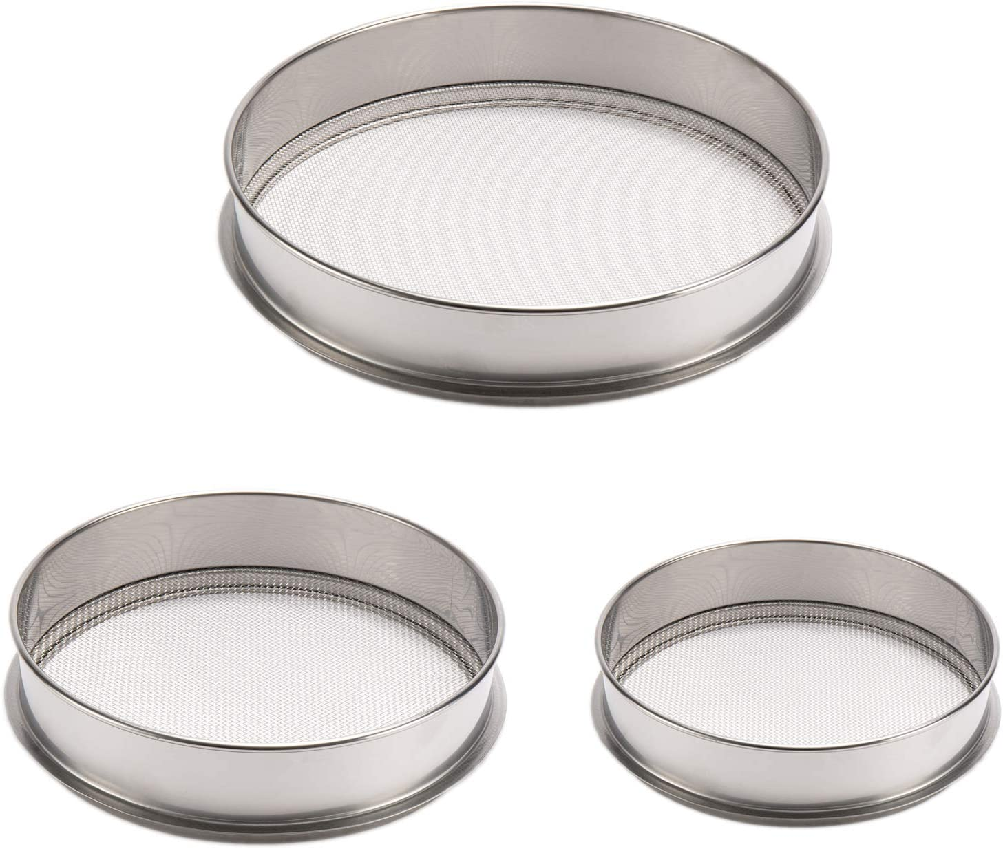 3 Pack Stainless Steel Soil Sieve Kits- 12in 1.7mm Garden Soil Screen+ 10in 2mm Round Hole Sifting Pan+ 8in 2.36mm Seeding Cultivation Tools Set Mud Screening Filter Supplies for Gardening Lawn Patio