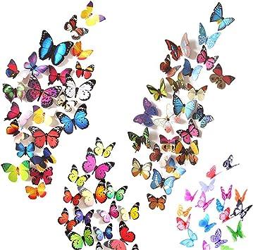 3D Butterflies Removable Mural Wall Stickers 80 PCS Butterfly Wall Decals