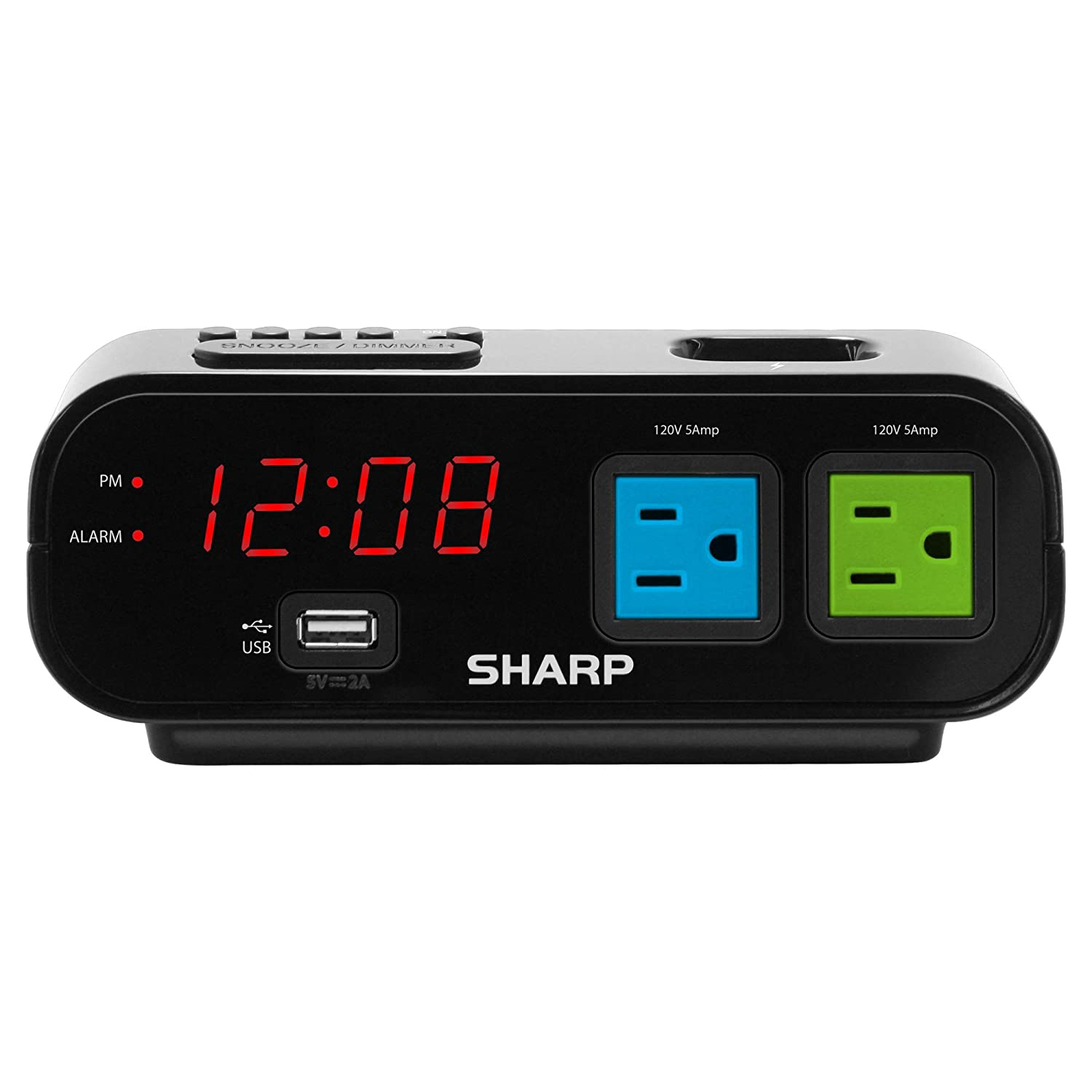 Sharp Digital Alarm Clock with 2X Power Outlets and Rapid Charge USB Port - Blue and Green Outlets