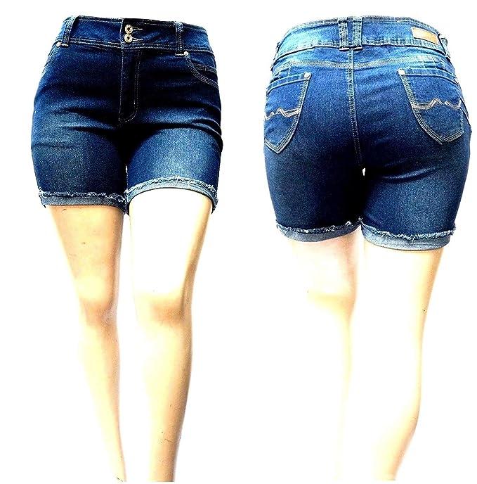 77f2bb4937 David J Womens Plus Size Short Stretch Distressed Ripped Blue Denim Jeans  Shorts (14
