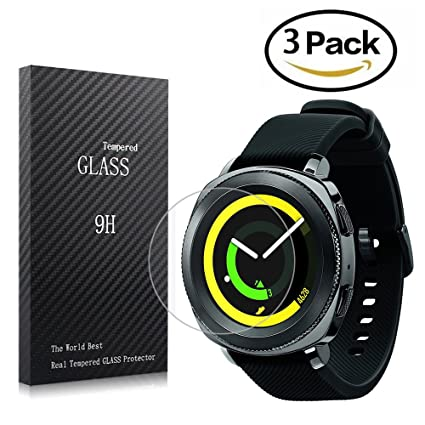 youniker 3 Pack Samsung Gear Sport Protector de pantalla de vidrio templado, Samsung Gear deporte Smartwatch Protector de pantalla Cristal 9H Dureza ...