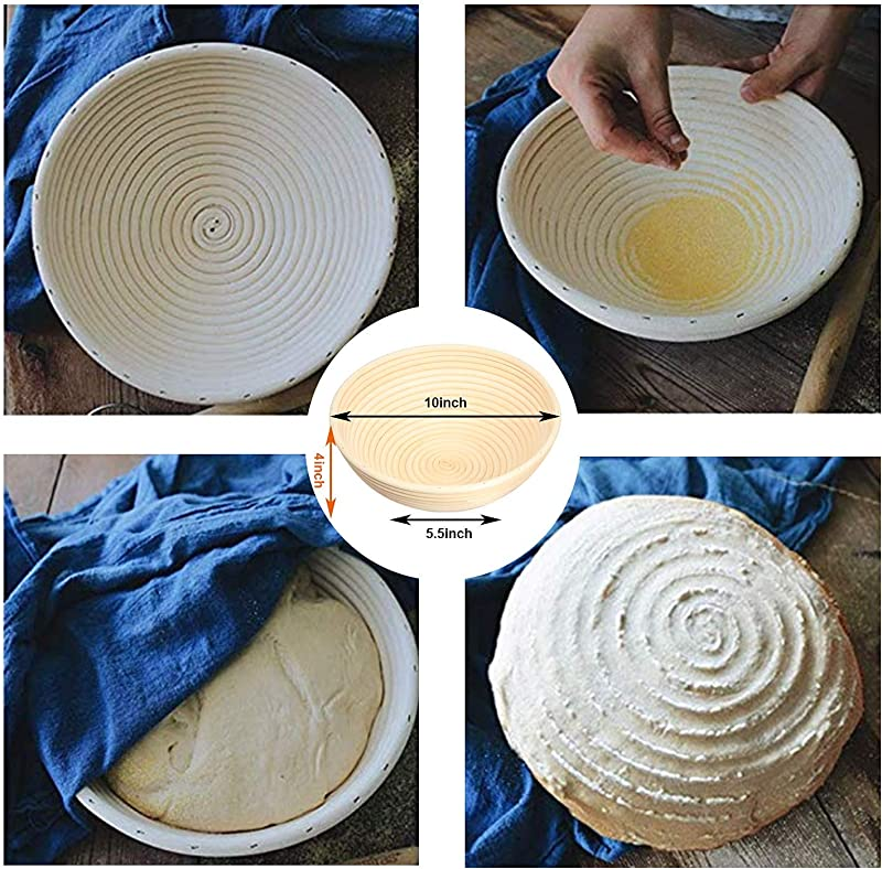 10 Inch and 9 Inch Banneton Bread Proofing Basket 2 Set with Dough Bowl, Stainless Steel Scraper, Bread Lame, Liner and Cleaning Brush