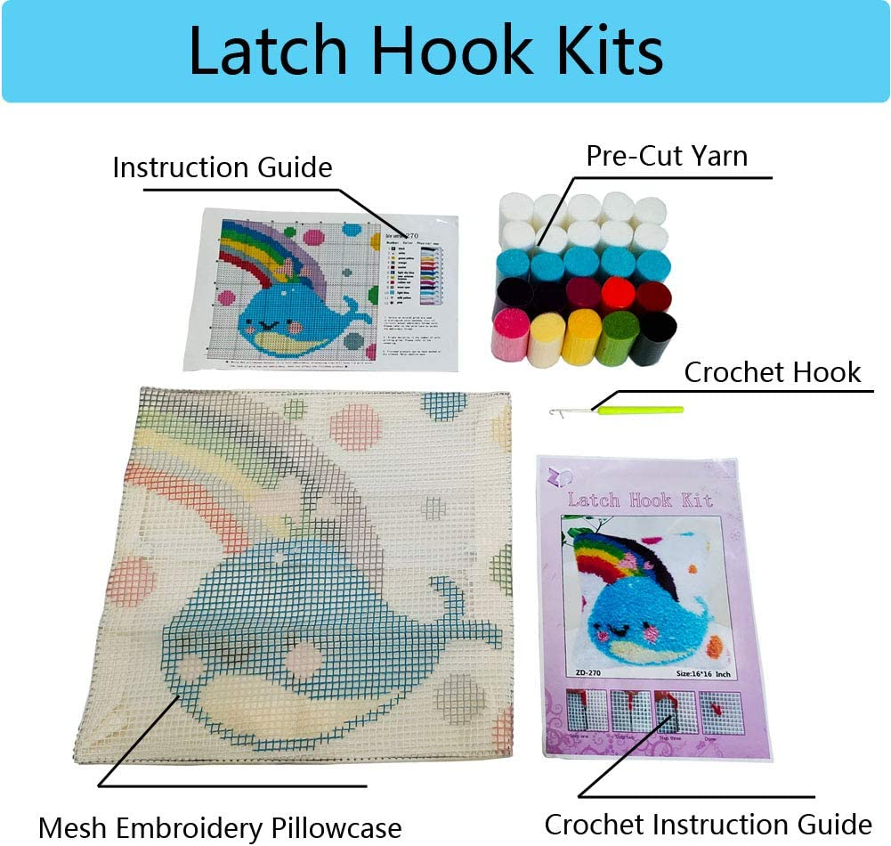 19x19 Inch Preprinted Pattern Pillow Making Crafts Kit for Beginner Latch Hook Kits for Adults and Kids