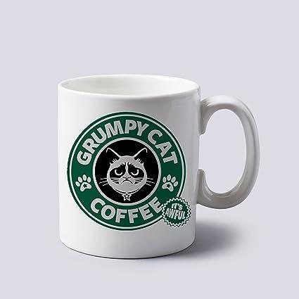 0ad8321cb3e Grumpy Cat Starbucks Logo Mug Cup Two Sides 11 Oz Ceramics