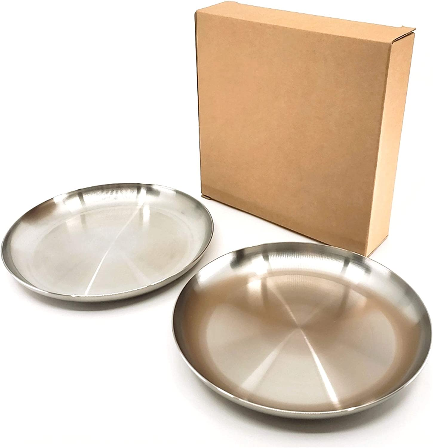 Set of 2, The Elixir Eco Green Premium STS 304 Stainless Steel Dinner Plates Heavy Duty Kitchenware Round 6 Inch Plate, Dishwasher Safe BPA Free