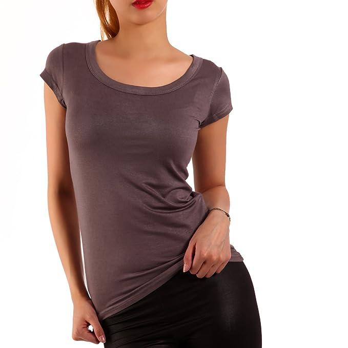 Young-Fashion Strech Basic T-Shirt Rundhals-Ausschnitt Shirt Damen Uni 34-