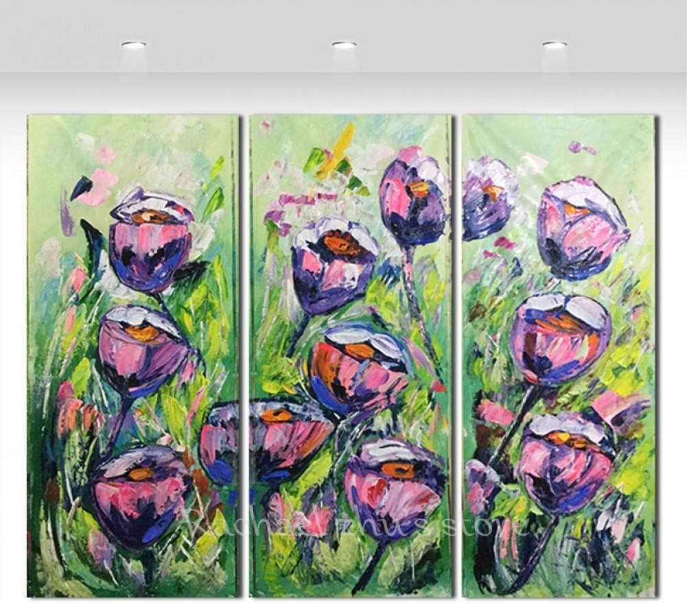 HYLBH Pintura Mural Pintado A Mano Flor Grande Rosa Púrpura Rosas Pinturas Al Óleo Tríptico Tres Paneles Arte Texturado Cuadro De La Pared Sala De Estar Decoración para El Hogar