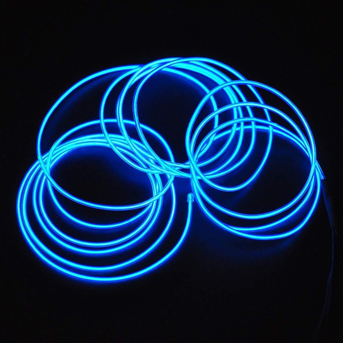 Songway Draht Neon Leuchtschnur EL Kabel euchtkabel Neon Wire Leuchtende Strobing Elektrolumineszenz mit 3 Modes f/ür Halloween Weihnachtsfeiern und Partybeleuchtung Smaragdgr/ün, 5M EL Wire