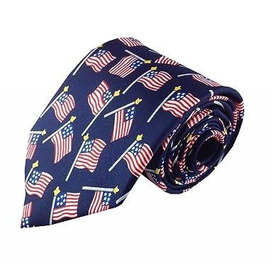 Azul con corbata de dibujos animados diseño de bandera americana ...