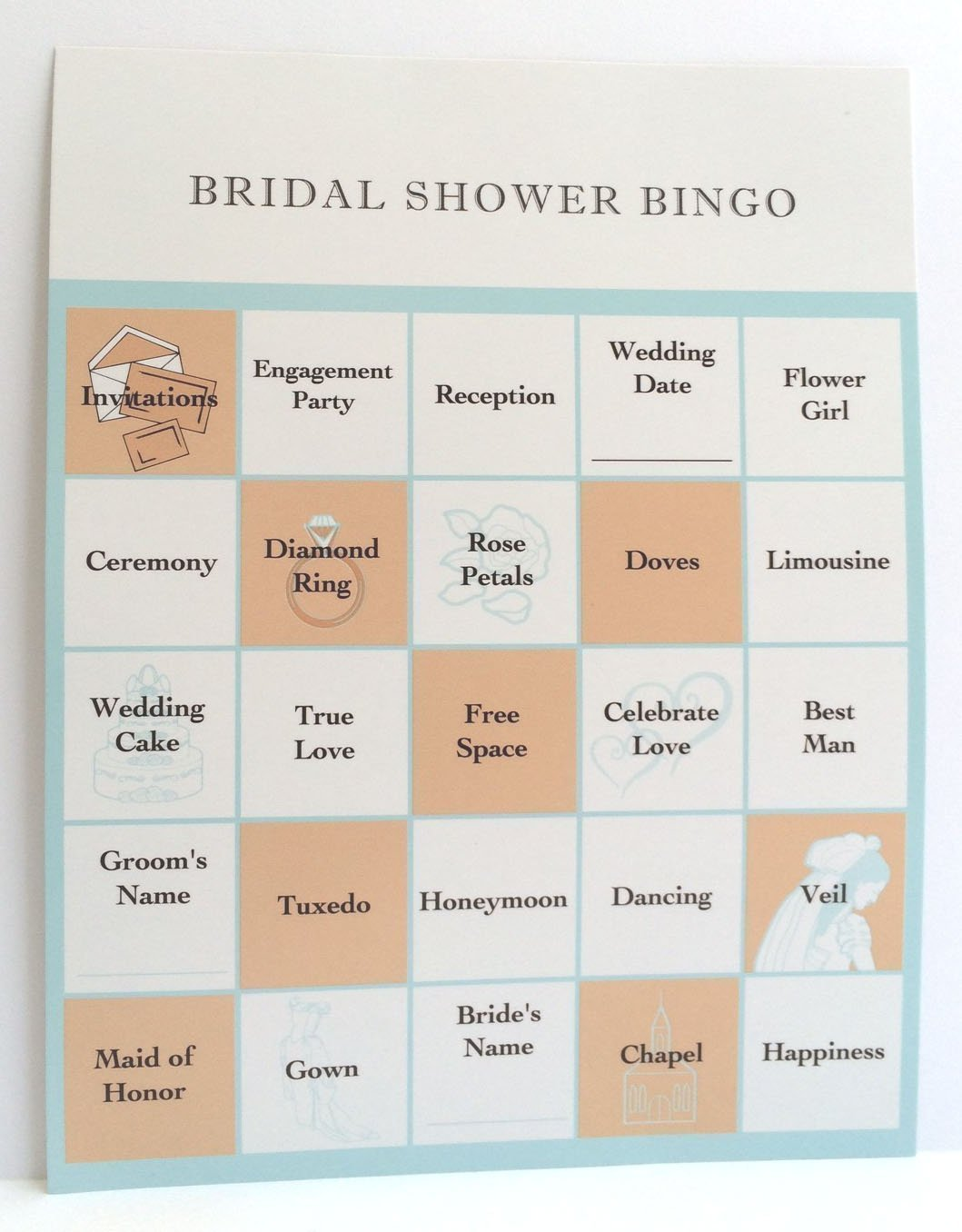 2 Pack Bingo Cards for 48 Guests Fun for Everyone,Blue and Peach SG/_B0127QCZ5M/_US Easy to Play Victoria Lynn Bridal Shower Party Games