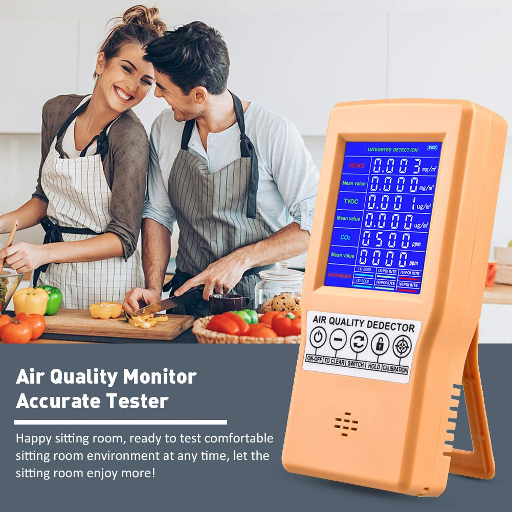 TVOC PM2.5//PM10 Multifunctional Air Gas Detector Real Time Data/&Mean Value Recording for Home Office Portable Handheld Air Quality Monitor Accurate Tester Detector for CO2 Formaldehyde HCHO