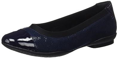 Damen Ballerinas Blau Navy Clarks Großer Verkauf ow3d1Mm