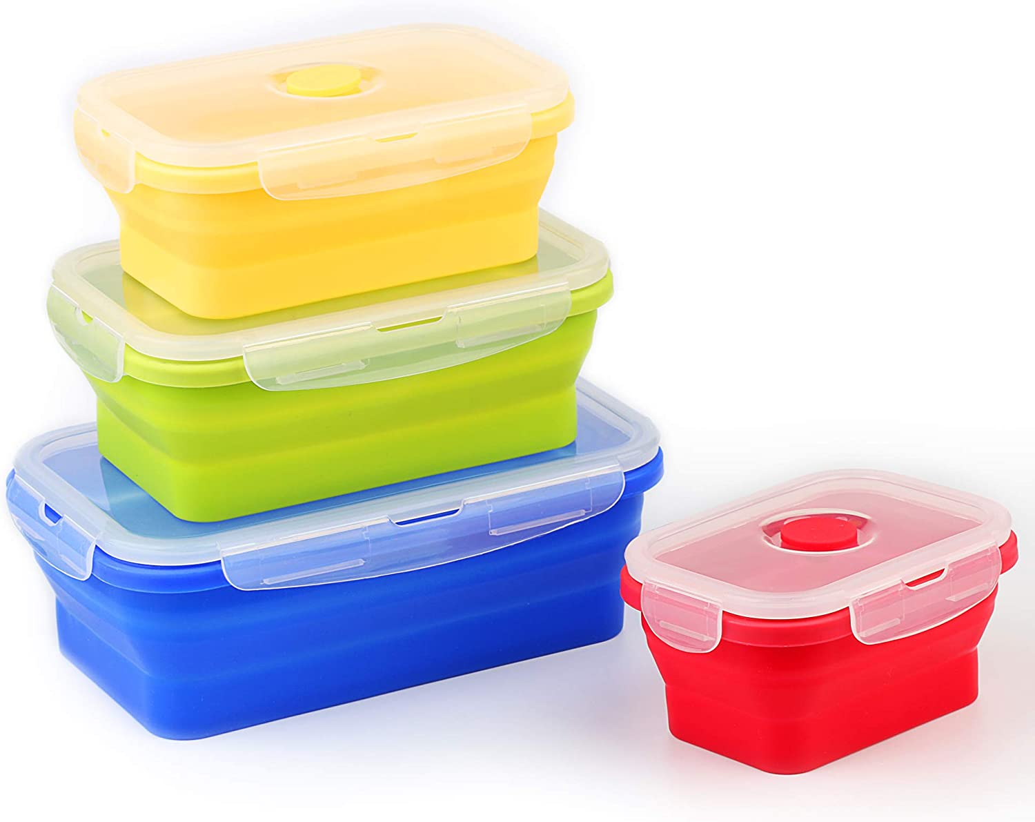 AILEHOPY Silicone Food Storage Containers with Airtight Plastic Lids - Set of 4 Small and Large Collapsible Meal Prep Container for Kitchen Lunch Boxes Microwave and Freezer