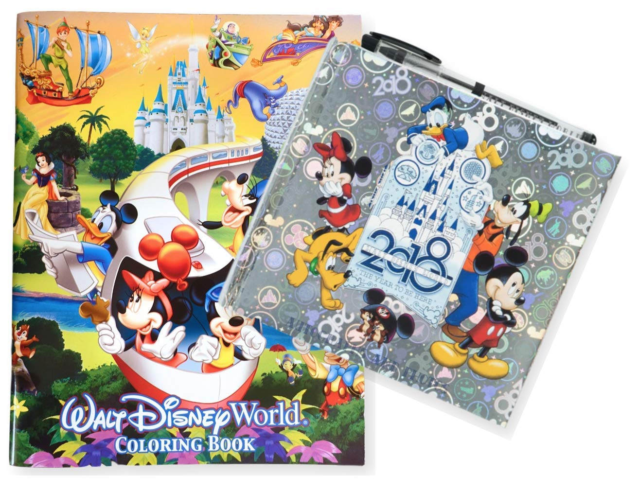 2018 Walt Disney World Autographs and Photographs Book with Pen and 96 Page Coloring Book
