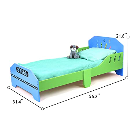 Bebe Style Premium Kids Bedroom Furniture Wooden Toddler Bed Crayon Theme  Easy Assembly