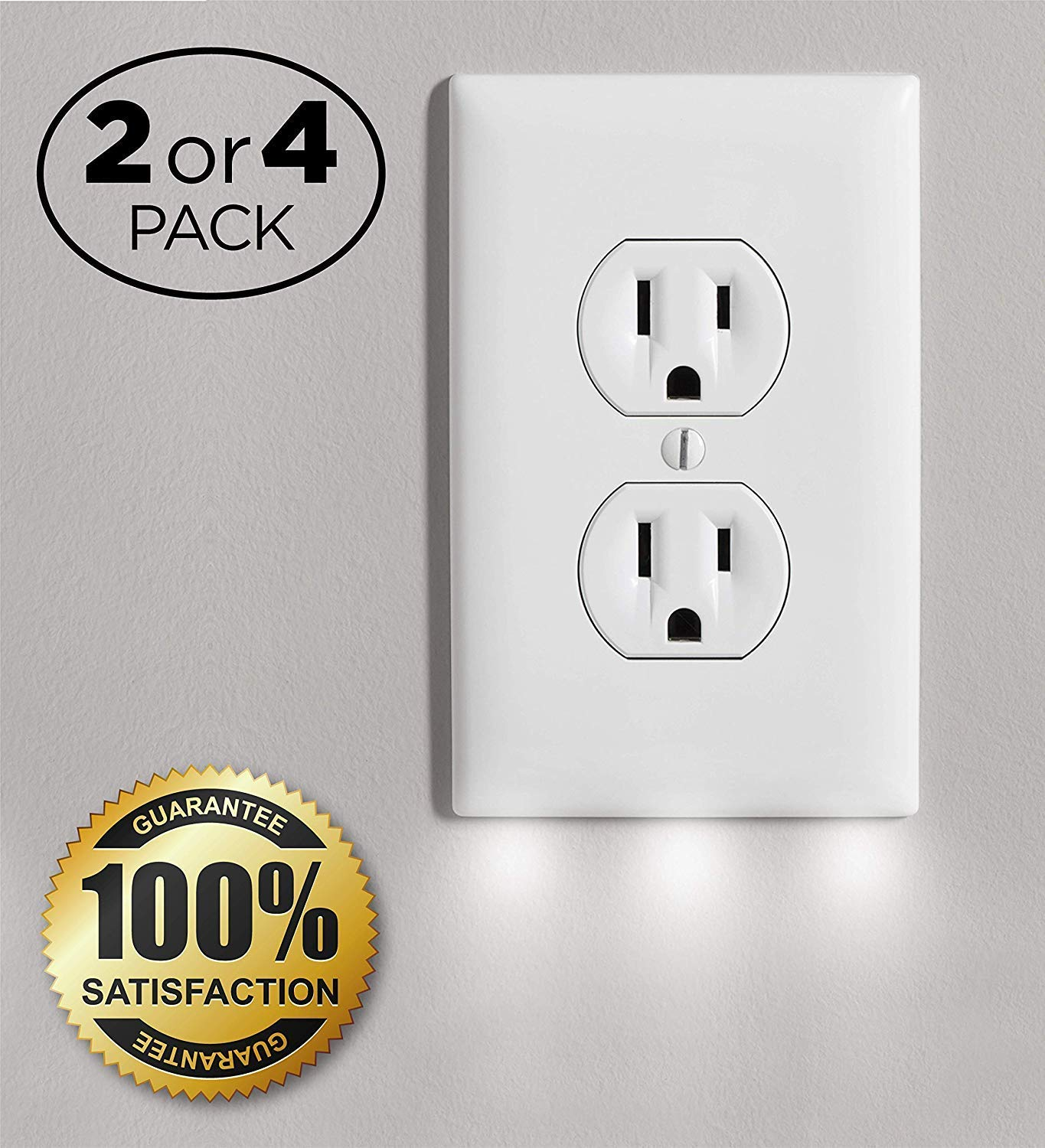 Outlet Wall Plate Cover with 3 LED Night Lights - Outlet Cover with Light - No Batteries and Wireless - Pack of 4 - White Guidelight (4)