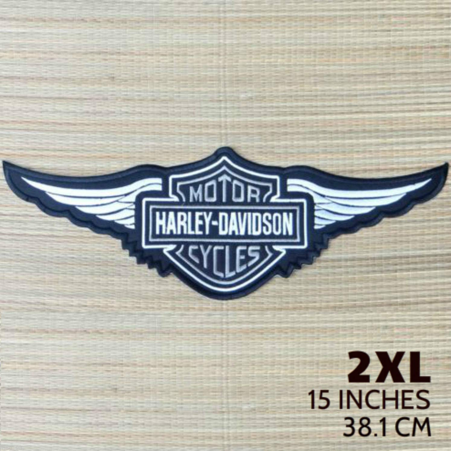 Harley Davidson Silver Logo with Wings Sew-on Patch (2XL) by Lotus energy