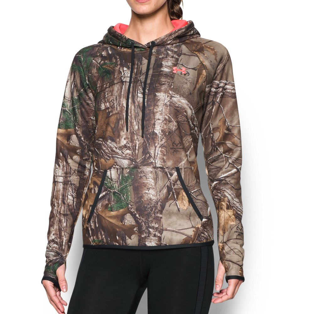 Under Armour Women's Icon Camo Hoodie, Realtree Ap-Xtra/Pink Chroma, Small