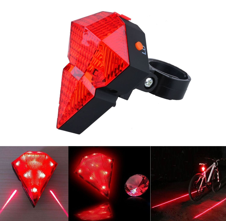 8 LED 2 Laser Red Cycling Bicycle Bike Rear Tail Flash Safety Warning Lamp Light