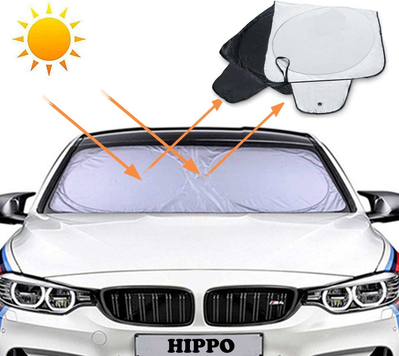 Hippo Auto Sonnenschutz Frontscheibe 210t Sonnenschutz Auto Sonnenblende Auto Für Frontscheibe Universal Auto Windschutzscheibe Uv Schutz Sonnenschirm 160 X 90 Cm Auto