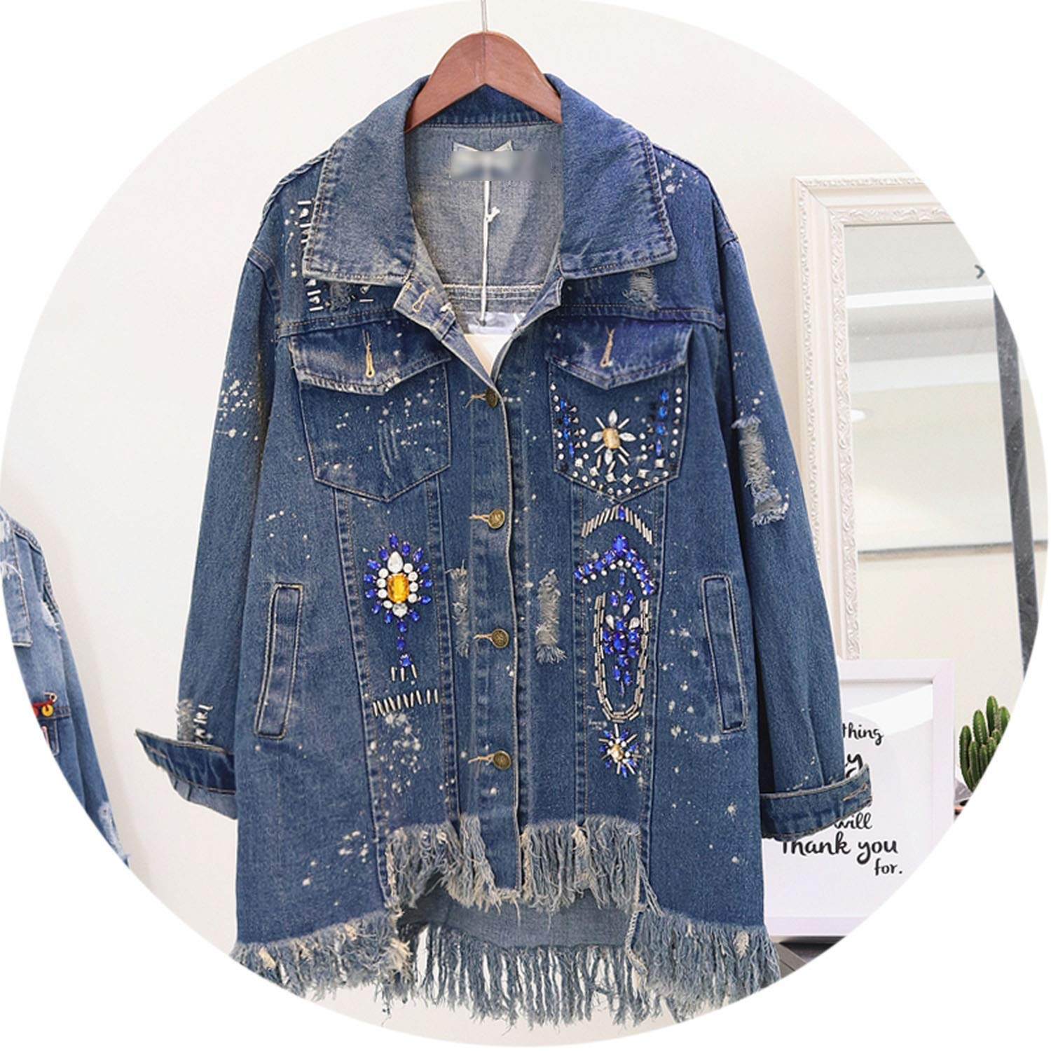 bluee Spring Autumn Diamond Tassel Jeans Jacket Irregular Edge Holes Denim Coat Loose Outwear